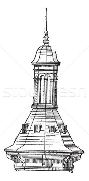 świetlik kościoła Paryż vintage wyryty Zdjęcia stock © Morphart