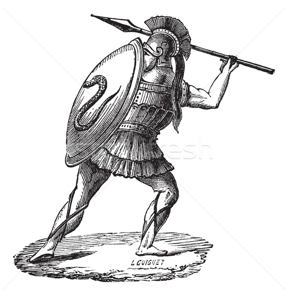 The Greek soldier with his armor vintage engraving Stock photo © Morphart