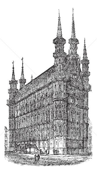 Stadhuis België vintage oude gegraveerd Stockfoto © Morphart