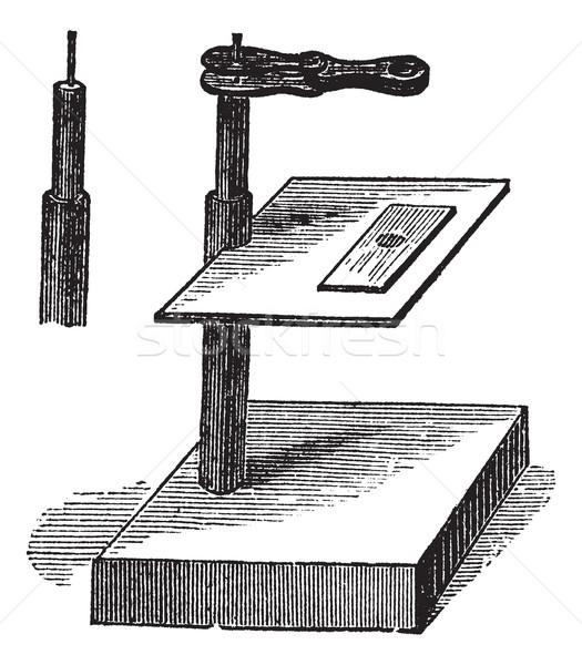 Mikroskop basit bağbozumu oyma oyulmuş örnek Stok fotoğraf © Morphart