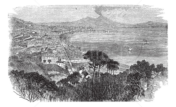 Naples in Campania, Italy, vintage engraved illustration Stock photo © Morphart