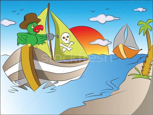 вектора Parrot лодка Hat Сток-фото © Morphart