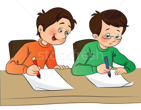 Vector of boy copying from other student's paper. Stock photo © Morphart