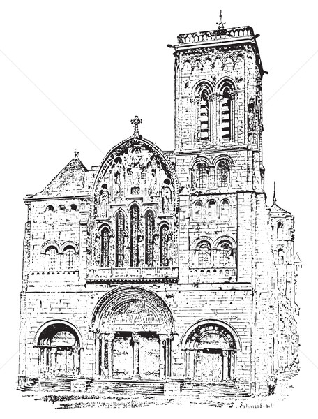 Vézelay Abbey or Abbey of la Madaleine, vintage engraving. Stock photo © Morphart