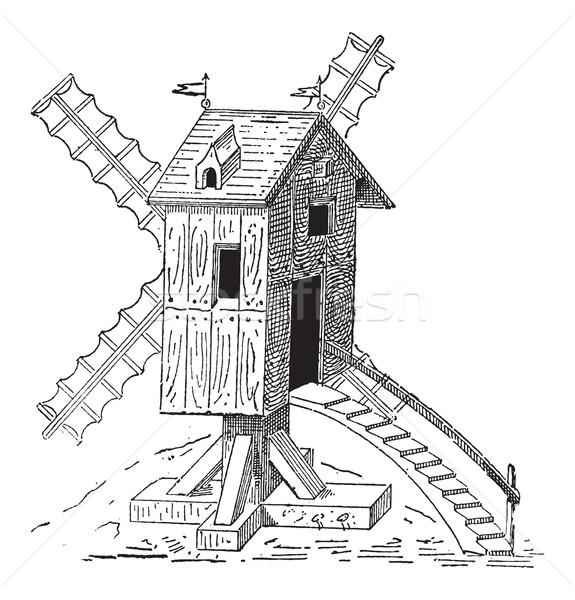 Wooden Mill, vintage engraving Stock photo © Morphart