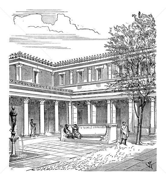 Courtyard of a Roman House, vintage engraving Stock photo © Morphart