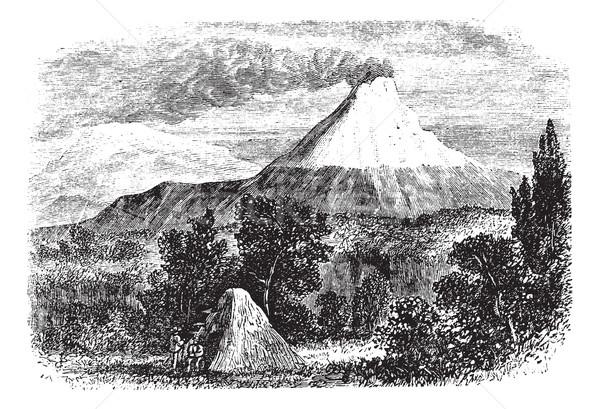 Vulkaan vintage oude gegraveerd illustratie Stockfoto © Morphart