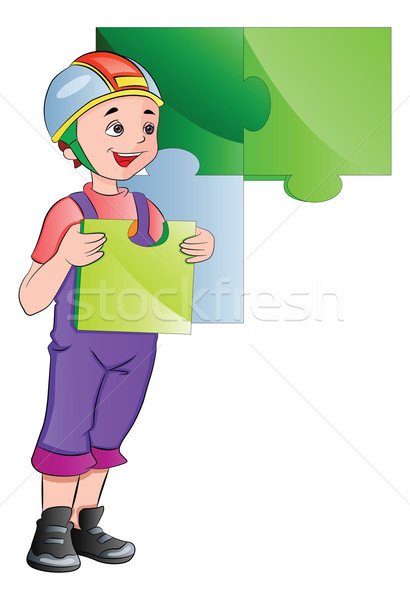 Boy Completing a Wall Puzzle, illustration Stock photo © Morphart