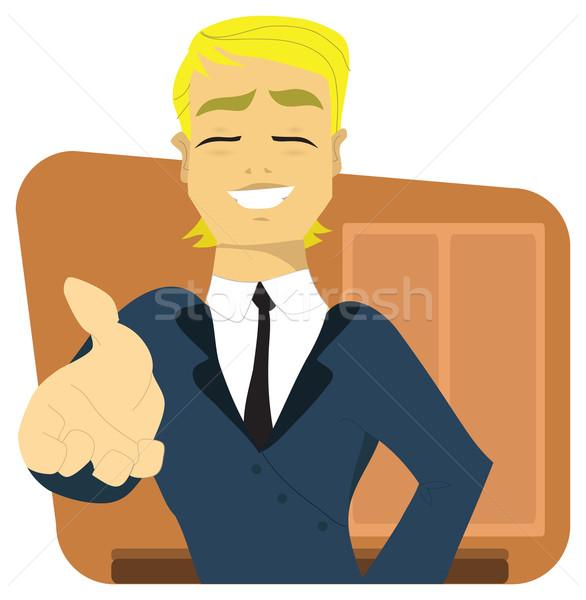 Fiatal üzletember felajánlás kézfogás menedzser főnök Stock fotó © Morphart