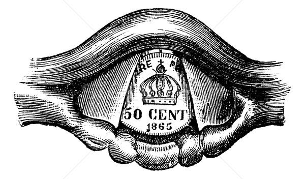 érme gége klasszikus vésés gravírozott illusztráció Stock fotó © Morphart