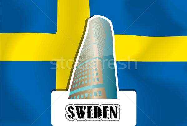Szwecja ilustracja niebieski podróży banderą sylwetka Zdjęcia stock © Morphart