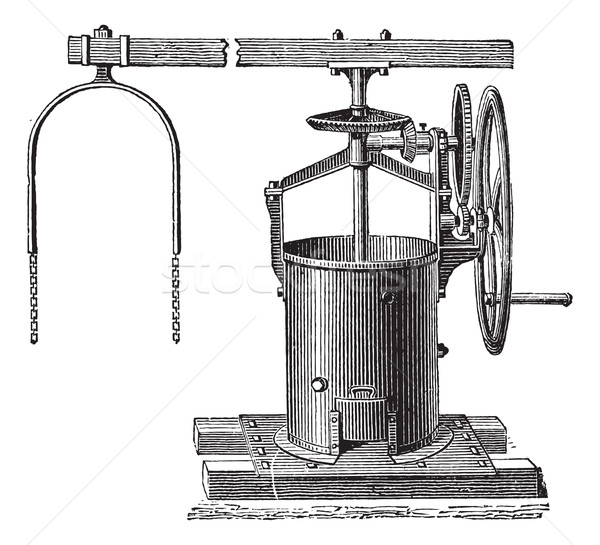 Mixer for the preparation of mortar vintage engraving Stock photo © Morphart