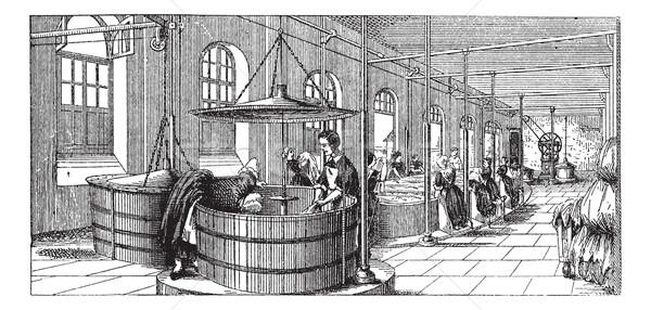The laundry room of  Lariboisiere Hospital (Paris)  vintage engr Stock photo © Morphart