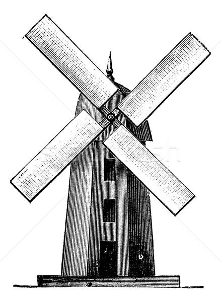 Mulino a vento vintage inciso illustrazione enciclopedia Foto d'archivio © Morphart