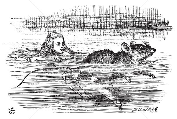 плаванию мыши страна чудес миниатюрный Бассейн иллюстрация Сток-фото © Morphart
