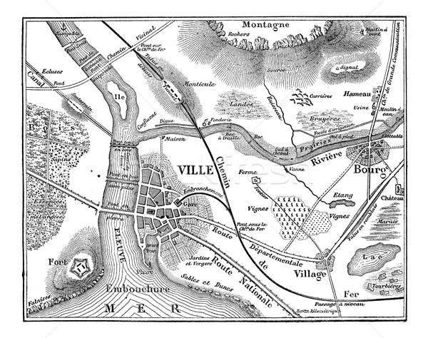 Mapa vintage grabado ilustración negro Foto stock © Morphart