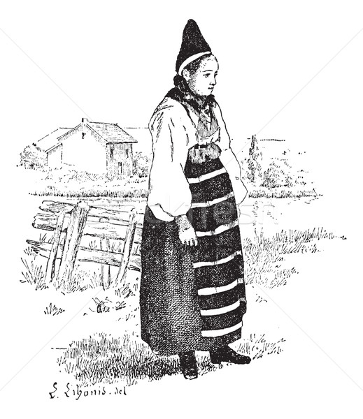 Peasant in the province of Dalarna, Sweden, vintage engraving. Stock photo © Morphart