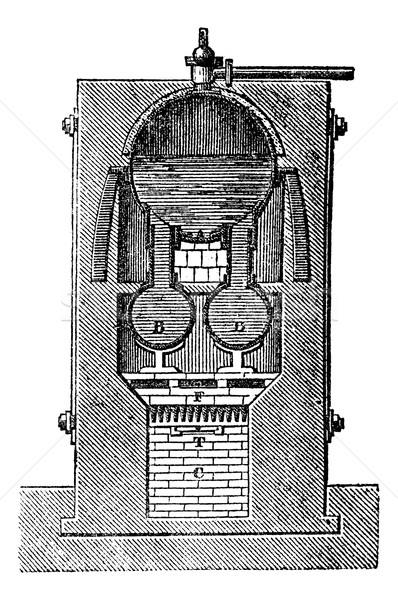 élevé pression vapeur générateur vintage gravure Photo stock © Morphart