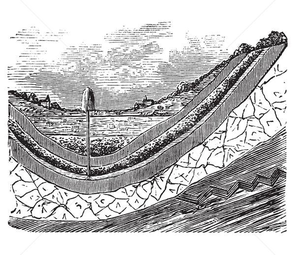 Artesian well or artesian aquifer vintage engraving. Stock photo © Morphart