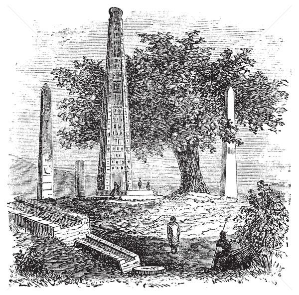 Obelisk of Axum or Rome Stele, in Tigray Region, Ethiopia, durin Stock photo © Morphart
