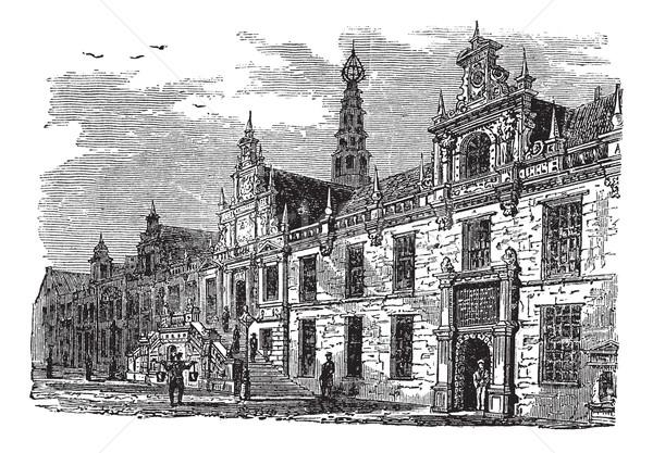 Leiden city hall, Netherlands, vintage engraving Stock photo © Morphart