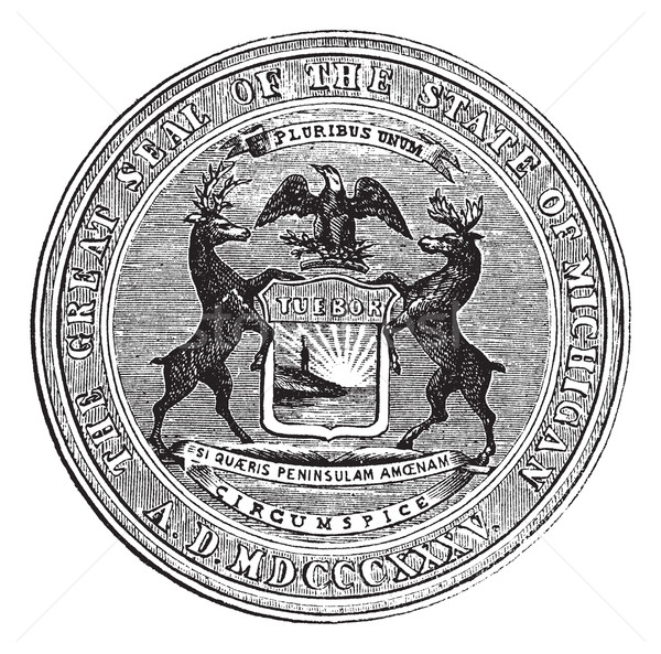 Seal of the state of Michigan, vintage engraving Stock photo © Morphart