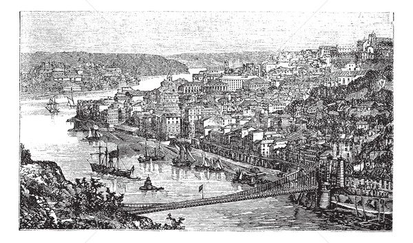 Oporto City, Portugal, vintage engraving Stock photo © Morphart