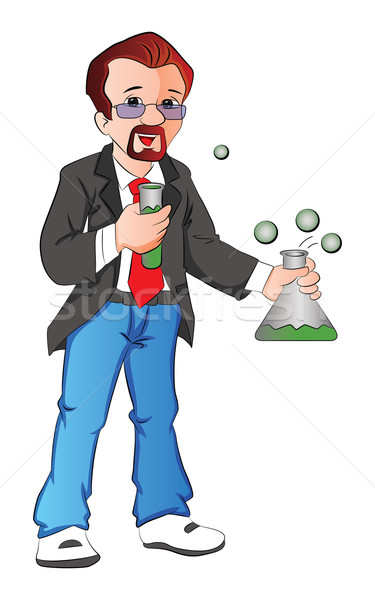 Vector of scientist with testtube and beaker. Stock photo © Morphart