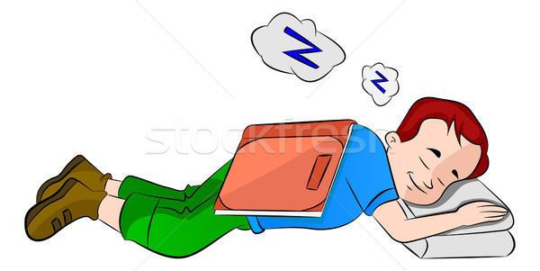 Boy Falling Asleep While Studying, illustration Stock photo © Morphart