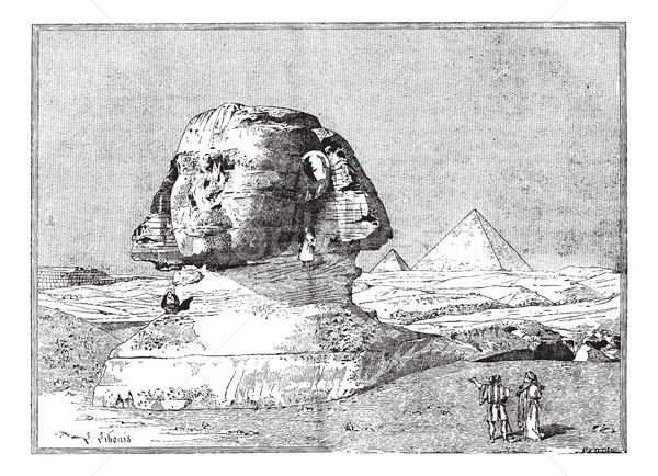 Sphinx, near the ruins of Memphis, Egypt, vintage engraving. Stock photo © Morphart