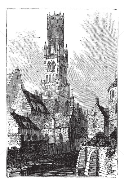 Belfry of Bruges, or Bellfort, Bruges, Belgium. Vintage engravin Stock photo © Morphart