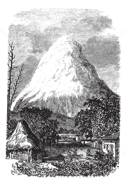 Vulcão Equador vintage velho gravado Foto stock © Morphart