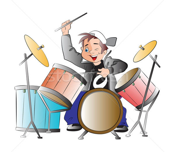 Картинка барабанщика с барабаном для детей, прикол