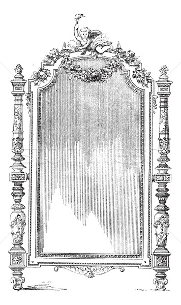 Ornate Louis XVI French style mirror, vintage engraving. Stock photo © Morphart