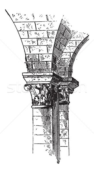 Klasszikus vésés építészet gravírozott illusztráció szótár Stock fotó © Morphart