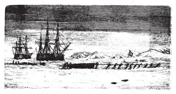 Statków uwięzione lodu vintage wyryty Zdjęcia stock © Morphart