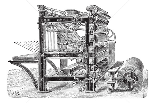 Marinoni Rotary printing press vintage engraving Stock photo © Morphart