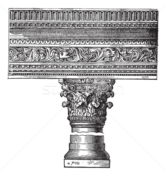 Pillar in the Church of Saint John in Constantinople. vintage en Stock photo © Morphart