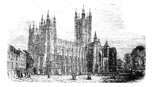 Canterbury Cathedral, Kent,England vintage engraving Stock photo © Morphart