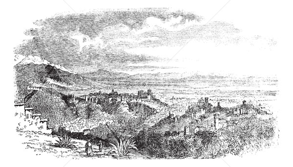 View of village at Granada, Andalusia, Spain vintage engraving Stock photo © Morphart