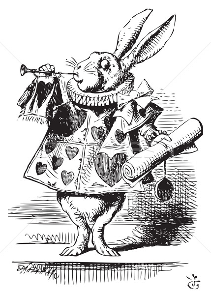 White Rabbit, dressed as a herald, blowing trumpet - Alice's Adv Stock photo © Morphart