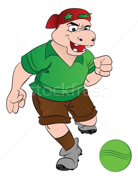 Humanoid víziló játszik futball illusztráció sport Stock fotó © Morphart