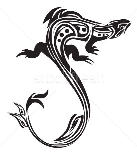 Chameleon tattoo design, vintage engraving. Stock photo © Morphart