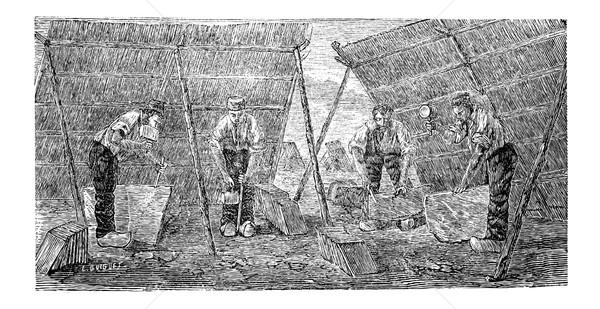 Workers Making Marble Tiles, vintage engraving Stock photo © Morphart