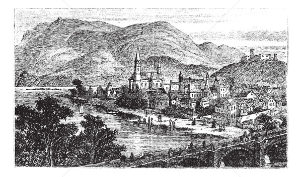 Bingen am Rhein town, Rhineland-Palatinate, Germany, vintage eng Stock photo © Morphart