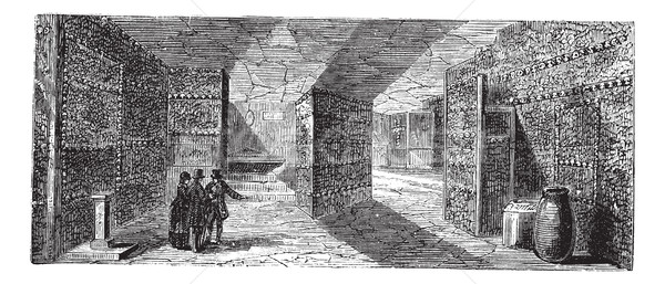 Catacombs or Ossuary,Paris, France vintage engraving Stock photo © Morphart