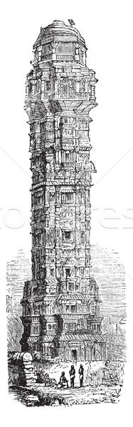 Tower of Victory in Chittorgarh, Rajahstan, India vintage engrav Stock photo © Morphart