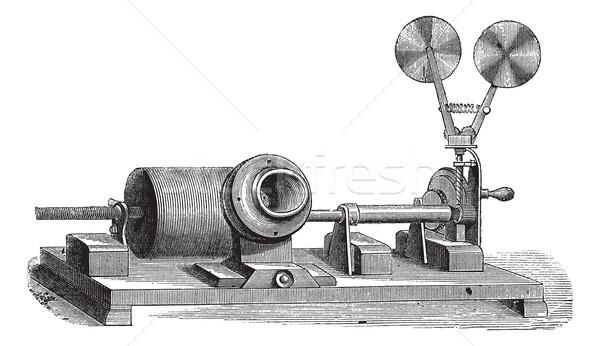 A clockwork gramophone - c, cylinder, m, mouth, vintage engravin Stock photo © Morphart