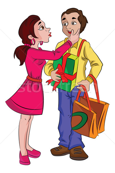 Man with Presents for His Sweetheart, illustration Stock photo © Morphart