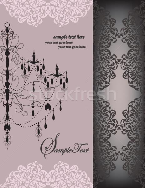Jahrgang Einladungskarte eleganten floral Design Stock foto © Morphart
